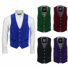 Mens Designer Vintage Soft Velvet Waistcoat Retro Smart Casual Slim Fit Vest