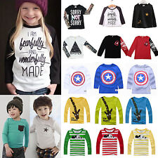 Toddler Kids Long Sleeve T-Shirt Tops Sweatshirt Boys Girls Shirts Tee Pullover