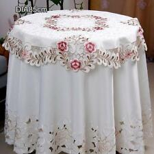 Round Flora Embroider Cutwork Tablecloth Dining Home Hotel Wedding Table Cover