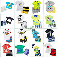 Summer Kids Baby Boys Short Sleeve T-shirts + Shorts Pants Outfits Clothes Set