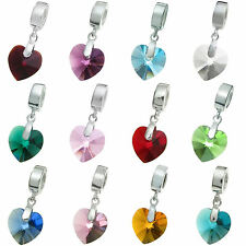 Sterling Silver Birthstone Heart European Dangle uses Swarovski Elements Crystal