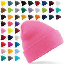 New BEECHFIELD Unisex Adults Turn Up Knitted Beanie Hat in 26 Colours One Size