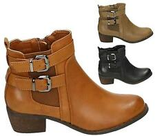 WOMENS FAUX LEATHER ANKLE BOOTS LADIES BUCKLE ZIP BLOCK HEELS SHOES COWBOY SIZE