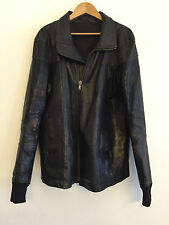 RICK OWENS BLACK CALF LEATHER JACKET XL