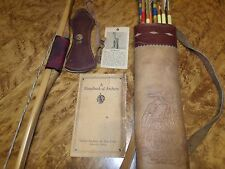 Rare 1940's Indian and Toy Corp Bear Archery Detroit MI Long Bow Quiver Manual