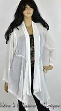 2X PLUS SIZE White Sheer Rhinestones Long Plus Cardigan - Lady Noiz