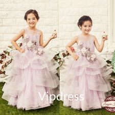 Light Pink Flower Girl Princess Dresses Kid Party Pageant Wedding Prom Ball Gown
