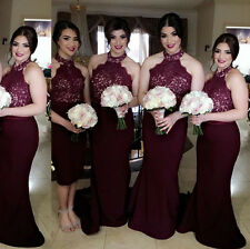 Burgundy Halter Bridesmaids Prom Dress Sleeveless Long Party Evening Formal Gown