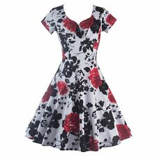 Women Vintage Style Floral Printed Rock Swing Cocktail Dress Sexy Ladies Dress