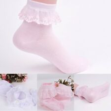 Cute Baby Girls Lace Ruffle Frilly Ankle Socks Sweet Princess Soft Cotton Socks