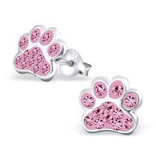 Childrens Girls Sterling Silver Pink Crystal Dog Paw Stud Earrings - Boxed