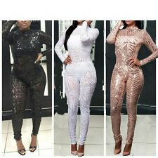 New Womens Perspective Jumpsuit Sequins Bodycon Playsuit Romper Pants Clubwear