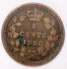 1858 LARGE DATE Five Cents Silver VG-F * RARE Variety KEY Victoria 1st Canada 5¢