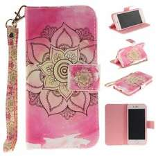 New Protective Flip Luxury PU Leather Case Cover Card For Phones Pink Flower