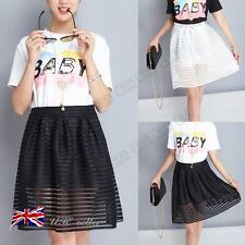 Womens Ladies Pleated Skater Skirt Flared Jersey Party Stripe Mesh Midi Dresses