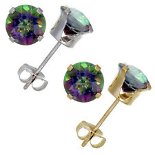 14K Gold Mystic Topaz Stud Earrings (1.80 CT ; 6 MM Round Cut)
