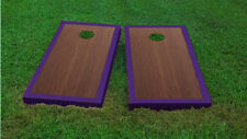 Premium Purple Border Rosewood Stained Cornhole Board Game Set
