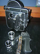 Bolex H16 Reflex 16mm Film camera w/6x V/F & Som Berthiot 25mm-Yvar 16mm lenses