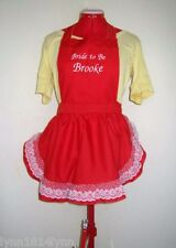 LADIES  FRENCHMAID PERSONALISED APRONS WITH LACE OVER TRIM ALL COLORS