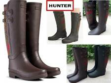 Rare Hunter Limited Sandhurst Chaucer Chocolate Wool Check Rubber Rain Boots New