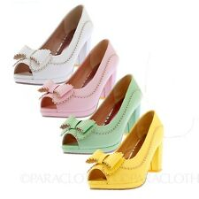 Womens Ladies Elegant Block Heel Platform Peep Toe Shoes AU sz 4 5 6 7 8 9 10