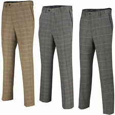 Mens Herringbone Check Trouser Vintage Tweed Slim Fit Smart Formal Pant Tan Grey