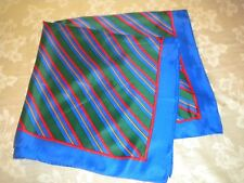 Royal Blue Red Gold Striped Square Scarf Multi-Color GLENTEX Silk Blend Japan