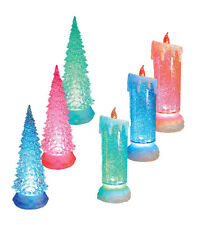 Christmas Colour Changing Flickering Water Tree Candle Glitter Ornament Festive