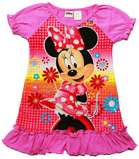 NEW SZ 1-4 NIGHTIE GIFT MINNIE MOUSE PYJAMAS KIDS SUMMER SLEEPWEAR GIRLS TSHIRT