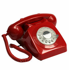 Fab Retro 1970's Rotary Telephone Classic Vintage Corded Dial Phone Desk Top Red