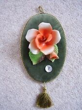 Capodimonte Italy porcelain flower-rose on velvet,picture-plaque, flower encrust