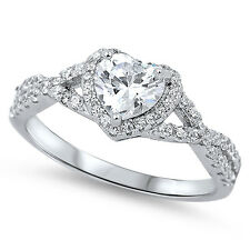 Sterling Silver .925 CZ Infinity Heart Halo Engagement Band Promise Ring SZ 4-10