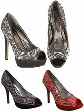 Ladies Peep Toe High Heel Platform Sandals Evening Diamante Shoes Size