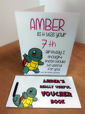 SQUIRTLE BIRTHDAY CARD + GIFT VOUCHER BOOK PERSONALISED POKEMON ANY NAME ANY AGE