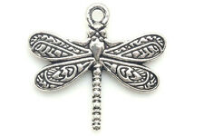 10/100PCS Tibetan silver Craft Dragonfly Necklace Charms Pendants Jewelry Making