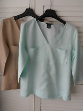 NEW WOMANS LADIES LIGHTWEIGHT CASUAL 100% LINEN SUMMER TOP BLOUSE WITH PLUS SIZE