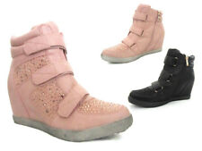 Womens Ladies Hidden Wedges Girls Zip Ankle Hi-Top Boots Trainers Shoes Size UK