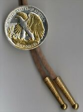 U.S. Walking Liberty Silver ½ Dollar Reverse Gold On Silver Coin Bolo Tie 32W-BT