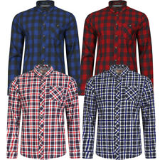 New Mens Tokyo Laundry Cotton Checked Tartan Long Sleeve Shirt Top Size S-XXL
