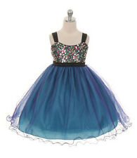 New Flower Girls Purple  Dress Wedding Pageant Christmas Fancy Sequins Party 332