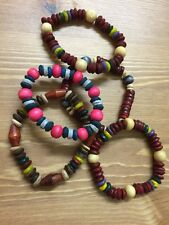 Fair Trade Wooden Bead Surfer Style Elastic Bracelet Hand Crafted  For Namaste