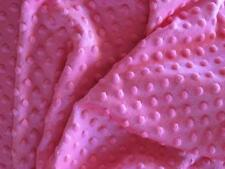 FUCHSIA HOT PINK MINKY CUDDLE DIMPLE DOT SOFT BABY SEW CRAFT QUILT FABRIC 30x36