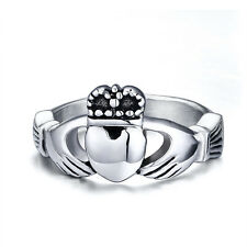Stainless Steel Irish Claddagh Ring Heart Crown Wedding Promise Band Size 5-10