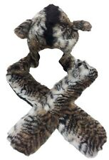 Ladies/Girls Faux Fur Animal Print Hat with Mittens Assorted Animal Prints
