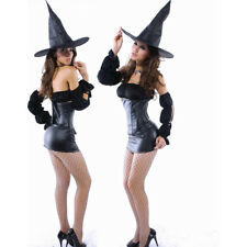 Women Seductive Sexy Witch Costume Solid Club Night Halloween Day Strapless Hat
