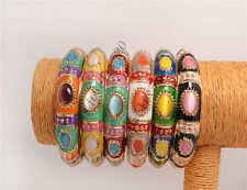 wholesale lots 10pcs exquisite cloisonne cat eye gemstone Golden bracelet FREE