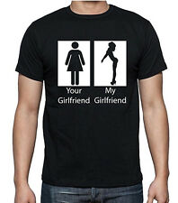 Funny T-Shirts, Your Girlfriend My Girlfriend, Black, White, S, M. L XL