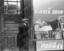 Barber Shop Window Coca Cola Sign Scale  8x10 Reprint Of Old Photo