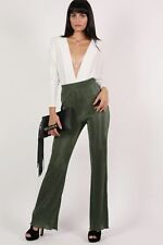 PILOT® Pleated High Waisted Trousers in Khaki Green