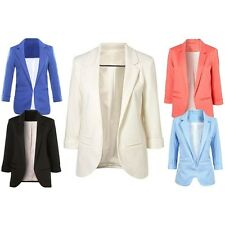 Women Blazer Slim 3/4 Sleeve Candy Color None Button Outerwear Jacket Coats